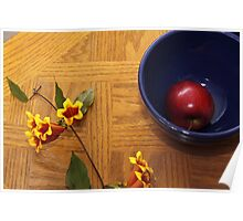 Trumpet with Blue Bowl and Apple Poster
