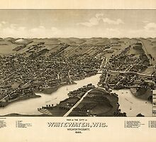 Panoramic Maps View of the city of Whitewater Wis Walworth-County 1855 by wetdryvac