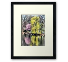 Willow and Cherry by Lake Framed Print