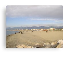 Sandy beach of Viareggio,Tuscany Canvas Print