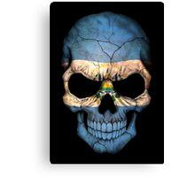 El Salvador Flag Skull Canvas Print