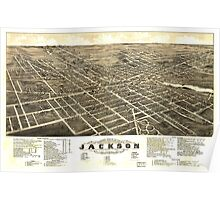 Panoramic Maps view of the city of Jackson Michigan 1881 Poster
