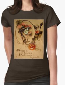 Happy Halloween (Vintage Halloween Card) Womens Fitted T-Shirt
