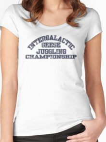 Intergalactic Geese Juggling Championship Women's Fitted Scoop T-Shirt