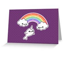 Cute Flying Narwhal Greeting Card