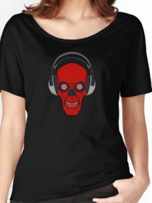 skull rock - red Women's Relaxed Fit T-Shirt