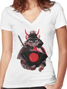 Samurai Cat Women's Fitted V-Neck T-Shirt