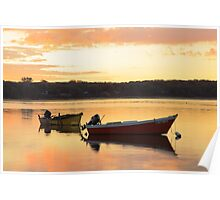 Fishing Skiffs at Sunrise, Orleans Cove, Cape Cod Poster
