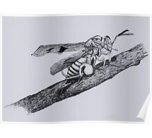 Wasp Drawing on Stick Poster