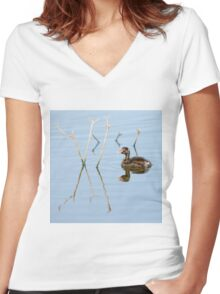Juvenile Little Grebe (Tachybaptus ruficollis) in a pond. Photographed in Israel in June Women's Fitted V-Neck T-Shirt