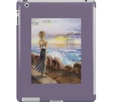 Girl At The Ocean Looking At The Ship iPad Case/Skin