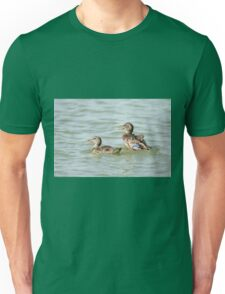 Female Mallard (Anas platyrhynchos) (right) and juvenile swimming in the water.  Unisex T-Shirt