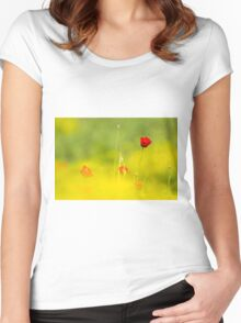 Red wild poppies in a green field  Women's Fitted Scoop T-Shirt