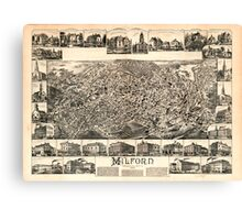 Panoramic Maps Milford Massachusetts 1888 Canvas Print