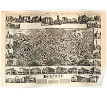 Panoramic Maps Milford Massachusetts 1888 Poster