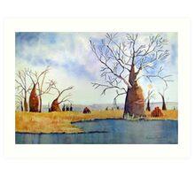 boab trees near a billabong 2 Art Print