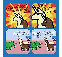 Llamacorn and Alpacacorn: They Fight Crime (Horned Warrior Friends) Photographic Print