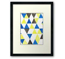 Geometric blue yellow pattern Framed Print