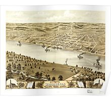 Panoramic Maps Bird's eye view of the city of Washington Franklin County Missouri 1869 Poster