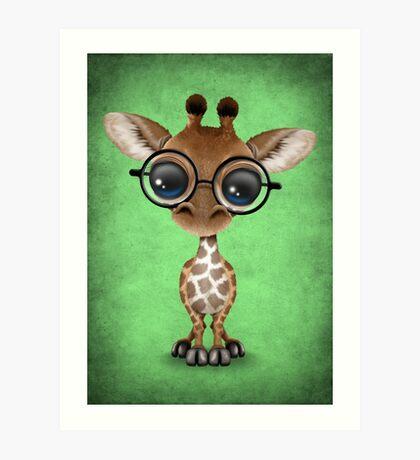 Cute Curious Baby Giraffe Wearing Glasses on Green Art Print