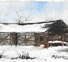 Snowy New England Barn by Michael Joseph Peraino