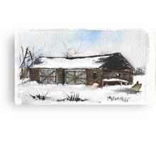 Snowy New England Barn Canvas Print