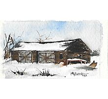 Snowy New England Barn Photographic Print