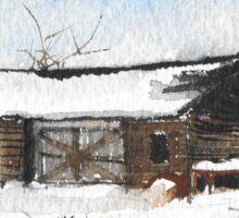 Snowy New England Barn Sticker