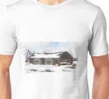 Snowy New England Barn Unisex T-Shirt