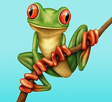 Cute Green Tree Frog on a Branch by Jeff Bartels