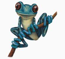 Cute Blue Tree Frog on a Branch Kids Tee