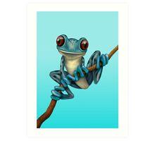 Cute Blue Tree Frog on a Branch Art Print