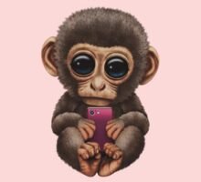 Cute Baby Monkey Holding a Pink Cell Phone  One Piece - Short Sleeve