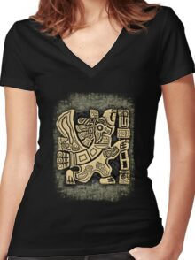 Aztec Eagle Warrior Women's Fitted V-Neck T-Shirt