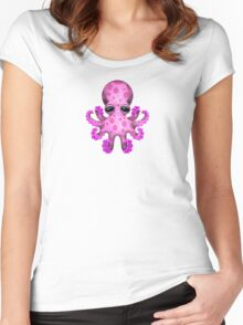 Cute Pink Baby Octopus Women's Fitted Scoop T-Shirt
