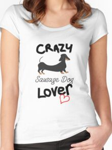 Crazy Sausage Dog Lover - Dachshund Women's Fitted Scoop T-Shirt