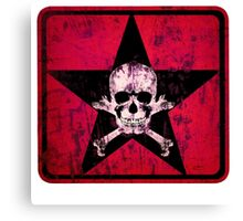 skull and bones red Canvas Print