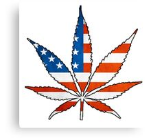 Marijuana Leaf American Flag Canvas Print