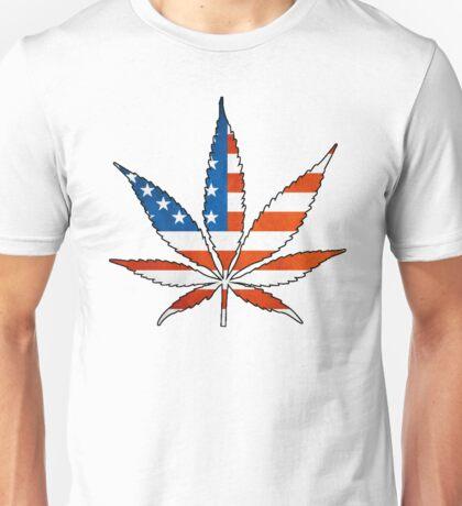 Marijuana Leaf American Flag Unisex T-Shirt