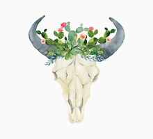 Bull skull with cacti crown - hand painted watercolor Unisex T-Shirt