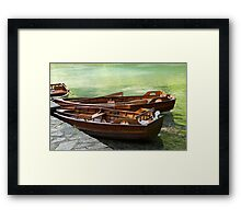 Rowboats in green lake. Framed Print