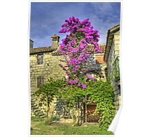 Old stonehouse and blooming tree. Poster