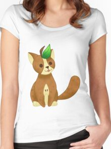 FRUIT CATS: Brown Pear Cat Women's Fitted Scoop T-Shirt