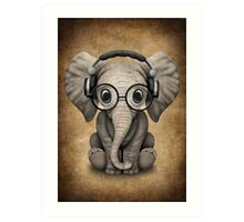 Cute Baby Elephant Dj Wearing Headphones and Glasses Art Print
