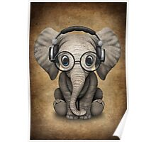 Cute Baby Elephant Dj Wearing Headphones and Glasses Poster