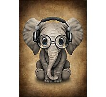 Cute Baby Elephant Dj Wearing Headphones and Glasses Photographic Print
