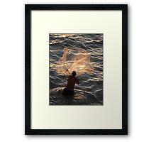 Fishing In The Evening - Pescando En La Nochecita Framed Print