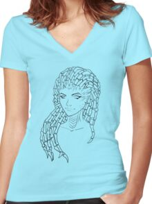 Sarah Kerrigan, the Queen of Blades (Black) Women's Fitted V-Neck T-Shirt