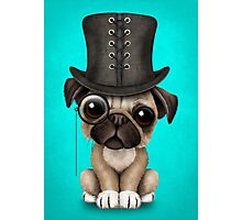 Cute Pug Puppy with Monocle and Top Hat on Blue Photographic Print