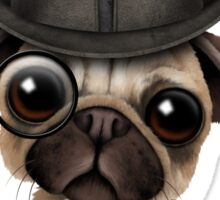 Cute Pug Puppy with Monocle and Top Hat on Blue Sticker
